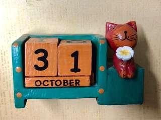 Cat with Flower Wooden Block Calendar