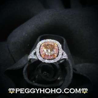 【Peggyhoho】 全新18K金單粒61份淺啡彩鑽配粉紅小鑽共1卡19份鑽石戒指| 彩鑽系列 |罕有粉紅鑽 HK13