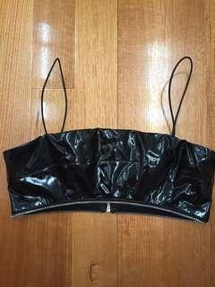 I am gia black faux leather crop