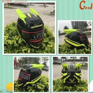 (運費暫免活動)男女摩托車頭盔半全盔覆式個性酷四季夏季安全帽機車賽車犄角