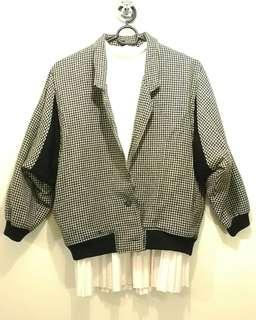 Brown and White Houndstooth Thick Winter Jacket