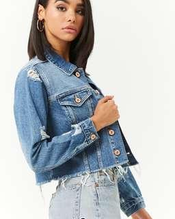 Authentic Forever 21 cropped denim JACKET