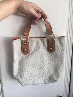 Vintage White Genuine Leather Handbag from Italy