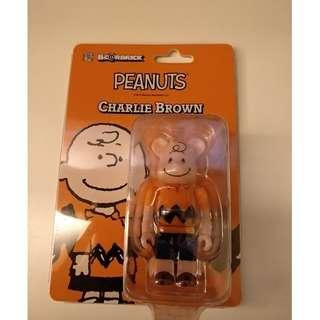bearbrick 100% Charlie Peanuts orange cute smell