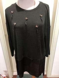 Forest green knit blouse