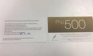 F1 Hotel Voucher - PhP 500 dining credits for Lunch and Dinner Buffet