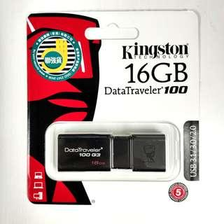 全新行貨 Kingston 16GB 3.0USB DataTraveler 100 G3 Flash Drive 16gb手指 USB手指