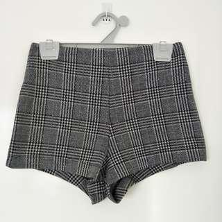 Forever 21 High-Waisted Shorts [Grey-Checkered]