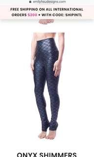 🚚 Emily Hsu Designs Onyx Shimmers High Waist Legging Size S