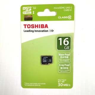 全新行貨 Toshiba 16GB microSDHCUHS-I Card Class10 16GB 記憶卡