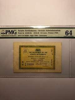 1919-20 Straits Settlements 10 cents Treasurer Y/3 73528 Original PMG 64 Choice UNC