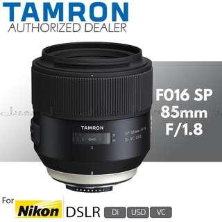 Tamron F016 SP 85mm f/1.8 Di VC USD Prime Lens for Nikon F