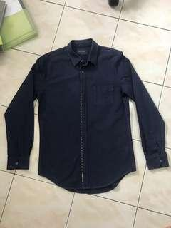 Navy Shirt with Coral Lining