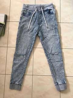 Denim Distressed Jogger Pants
