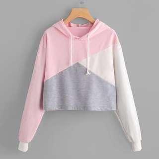 🚚 Tri-colour crop hoodie - Pink, grey, white