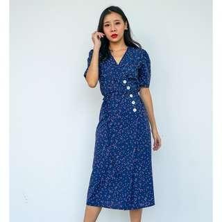 [PO] Dorita Slant Button Wrap Dress