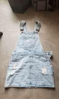 Forever 21 denim overall skirt 工人裙 90%new