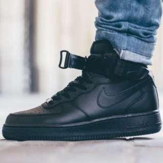 Nike Air Force 1 MID 全黑 高筒