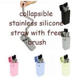COLLAPSIBLE STAINLESS SILICONE STRAW
