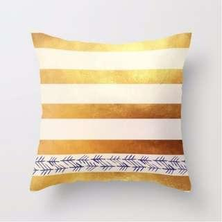 🚚 Gold Stripes with Blue Accent Throw Pillow Cushion Cover