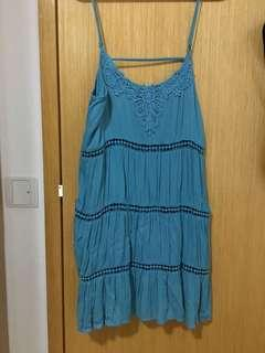 F21 teal embroidered flows strap dress