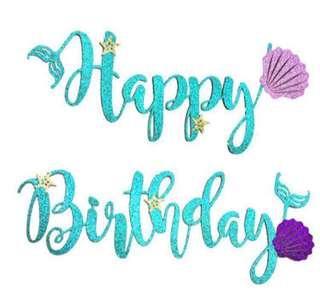 Mermaid Happy Birthday Bunting/Backdrop