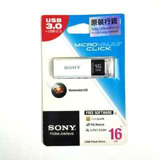 全新行貨 SONY 16GB USB 3.0 Flash Drive Micro VAULT Click 16 GB 手指 白色手指