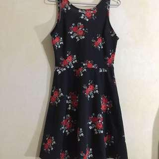 H&M Sleeveless Black Dress with Rose Design and Plunging Backline