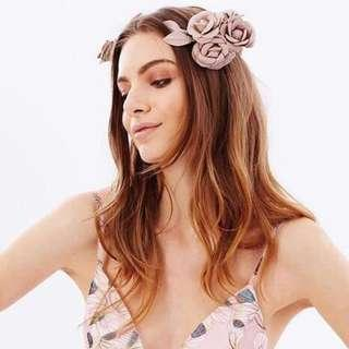 Heather Mcdowall Elliat Evelyn pink blush leather flower headpiece fascinator crown