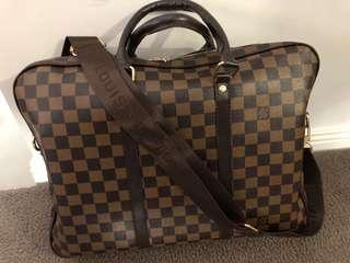 Louis Brown Plaid Briefcase