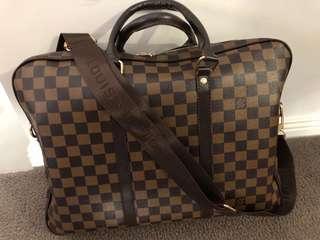 Louis Brown Plaid Briefcase