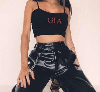 """GIA"" CROP BLACK RED"