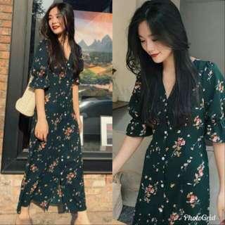 🍃Elegant Floral Dark Green Midi Dress