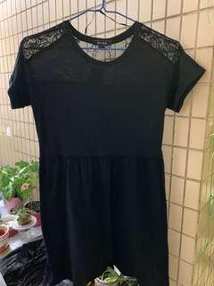 2折清屋 ~ 6ixty 8ight 黑色喱士短袖連身裙