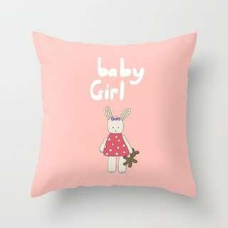 🚚 Baby Girl Bunny Throw Pillow Cushion Cover
