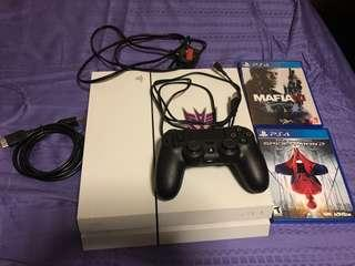Sony Playstation 4 500mb glacier white with 1 controler 1 controler protector 2 games sale