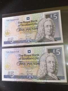 The Royal Of Scotland pls Five Pound Running 2pcs