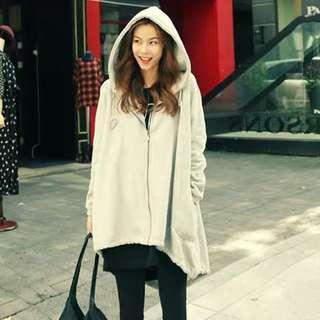 🚚 全新🇰🇷韓國不規則下擺寬鬆拉鍊連帽外套