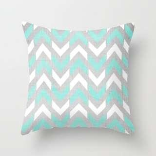 🚚 Teal & White Herringbone Chevron on Wood Throw Pillow Cover