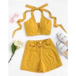 Solid Halter Top with Tie Waist Shorts Two Piece Sets Mustard