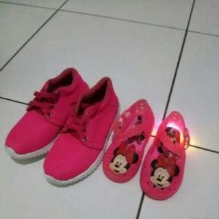 Take all aja sepatu anak perempuan LED dan running