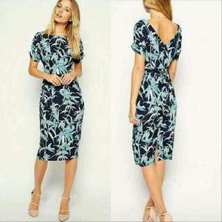 🍃Formal Blue Leaf Design Slit Midi Dress