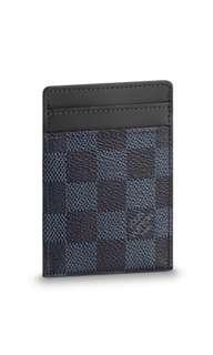 Louis Vuitton Pince Money Clip Cardholder in Damier Cobalt Canvas