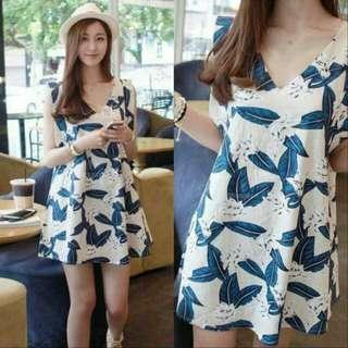🍃Blue and White Leaf Design Sleeveless Dress