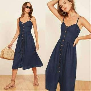 🍃Blue Sleeveless Button Down Midi Dress