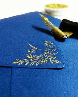 Vintage Wedding Invitation Envelope flourish