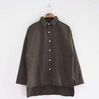 Oversize brown tartan top