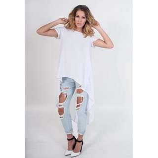 REVERSE RIPPED LIGHT BLUE WASH JEANS NEW WITH TAGS 6,10,12