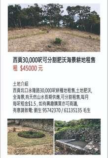 30,000呎西貢坑口永隆路可分割肥沃耕地出租或出售、每呎HK$1.5/呎