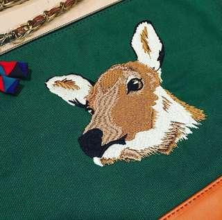 全新 日牌 布Clutch Bag * Deer 鹿刺繡 * Size: (W)29cm x (H)22cm * 荔枝角MTR or 順豐到付